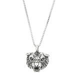 Sterling Silver 2D Bobcat Face Charm on Box Chain Necklace