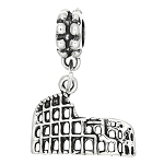 Sterling Silver Rome Colosseum Dangle Bead Charm