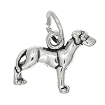 Sterling Silver Small Puppy Great Dane Dog Charm or Pendant