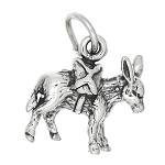 Sterling Silver Three Dimensional Donkey Pack Mule Charm