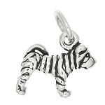 Sterling Silver 3d Tiny Puppy Shar Pei Dog Charm or Pendant -with Options