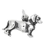 Sterling Silver Three Dimensional Dachshund Weenie Dog Charm -with Options
