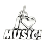 Sterling Silver I Love Music Charm -with Options