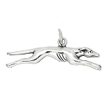 Sterling Silver Three Dimensional Running Greyhound Dog Charm -with Options