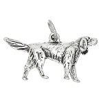 Sterling Silver Three Dimensional Irish Setter Dog Charm