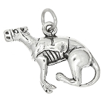 Sterling Silver Three Dimensional Racing Greyhound Dog Charm