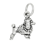 Sterling Silver Tiny Fancy Poodle Dog Charm or Pendant