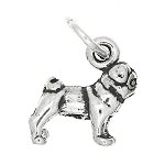 Sterling Silver Tiny Chinese Pug Dog Charm or Pendant
