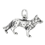 Sterling Silver Three Dimensional German Shepherd Dog Charm