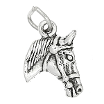 Sterling Silver Double Sided Horse Head Charm