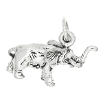 Sterling Silver Small Three Dimensional Baby Elephant Charm