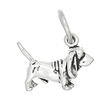 Sterling Silver Tiny Lightweight Basset Hound Dog Charm