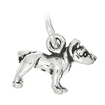 Sterling Silver Tiny Puppy Pit Bull Dog Charm or Pendant