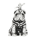 Sterling Silver Three Dimensional Shar Pei Dog Charm