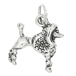 Sterling Silver Three Dimensional Fancy Poodle Dog Charm