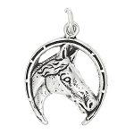 Sterling Silver One Sided Horse Head Inside Lucky Horseshoe Charm