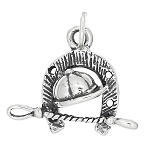 Sterling Silver One Sided English Horse Riding Gear Charm