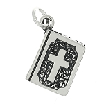 Sterling Silver Three Dimensional Small Two Sided Dove Cross Bible Charm