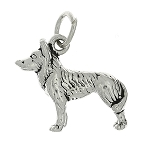 Sterling Silver Three Dimensional Husky Sled Dog Charm