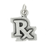 Sterling Silver One Sided Rx Symbol Charm