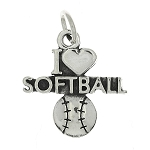 Sterling Silver One Sided I Love Softball with Softball Charm