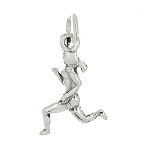 Sterling Silver Double Sided Female Jogger Runner Charm