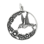 Sterling Silver One Sided Flying Hummingbird Cut Out Disc Charm