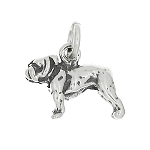 Sterling Silver Small Three Dimensional Bulldog Charm