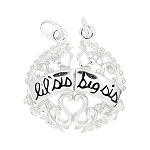 Sterling Silver One Sided Shareable Big Sis Lil Sis Flowered Filigree Charm