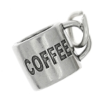 Sterling Silver Three Dimensional Large Coffee Mug Cup Charm