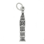 Sterling Silver Three Dimensional Big Ben Clock Charm