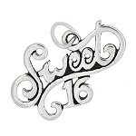 Sterling Silver One Sided Cursive Sweet Sixteen Charm