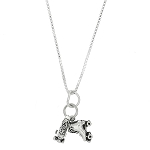 Sterling Silver Three Dimensional Pair of Roller Skates Necklace