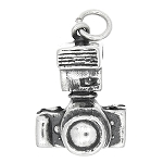 Sterling Silver Three Dimensional Single Lens Reflex Photographer Camera Charm