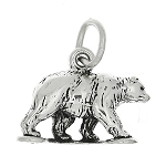 Sterling Silver Three Dimensional Grizzly Bear Charm