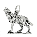 Sterling Silver Three Dimensional Howling Coyote or Wolf Charm