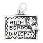 Sterling Silver One Sided High School Diploma Charm