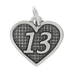 Sterling Silver Charming 13 Years Old /13 Years Heart Charm