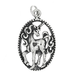 Sterling Silver One Sided Mystical Unicorn Charm