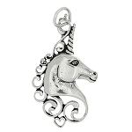 Sterling Silver One Sided Mystical Unicorn Head Charm