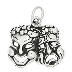 Sterling Silver Drama Comedy Tragedy Mask Charm