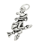 Sterling Silver Three Dimensional Witch Flying on a Broom Charm -with Options