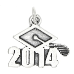 Sterling Silver Class of 2014 Graduation Cap Charm