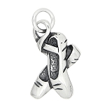 Sterling Silver Three Dimensional Ballerina Shoes Charm