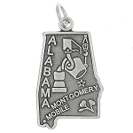 Sterling Silver State of Alabama Charm