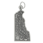 Sterling Silver One Sided State of Delaware Charm