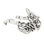 Sterling Silver Karate Flying Kick Charm