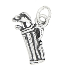 Sterling Silver Golf Bag with Golf Clubs Charm