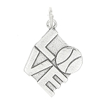 Sterling Silver One Sided Tennis Love Charm