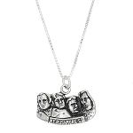 Sterling Silver One Sided Cut Out Mount Rushmore Charm with Box Chain Necklace